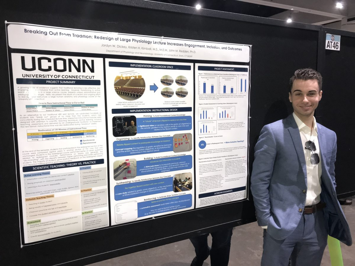 """Jordyn Dickey presents his honors thesis """"Breaking Out From Tradition, Redesign of a Large Physiology Lecture Increases, Engagement, Inclusion, and Outcomes"""" at the American Physiological Society meeting in San Diego, CA (2018)"""